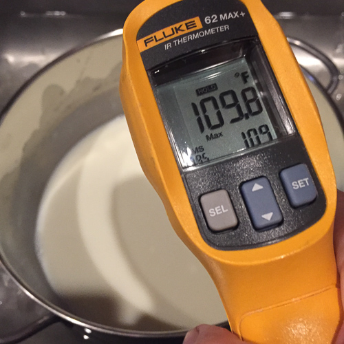Milk cooling to the target temperature of 110 F.