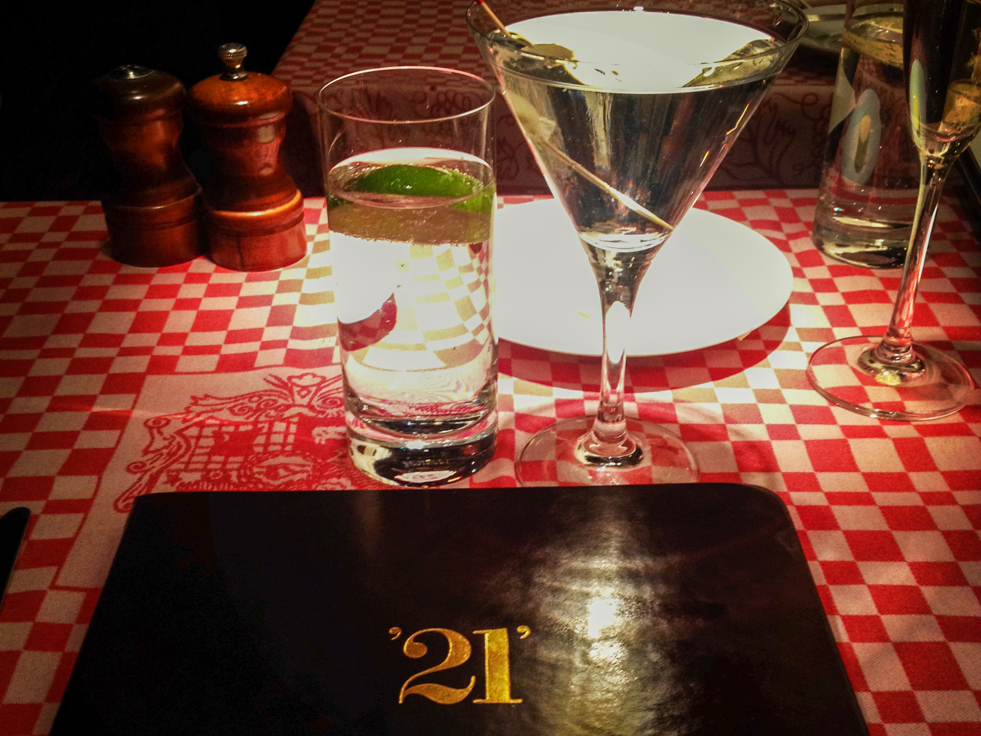 A Plymouth Gibson cocktail at 21 in NYC