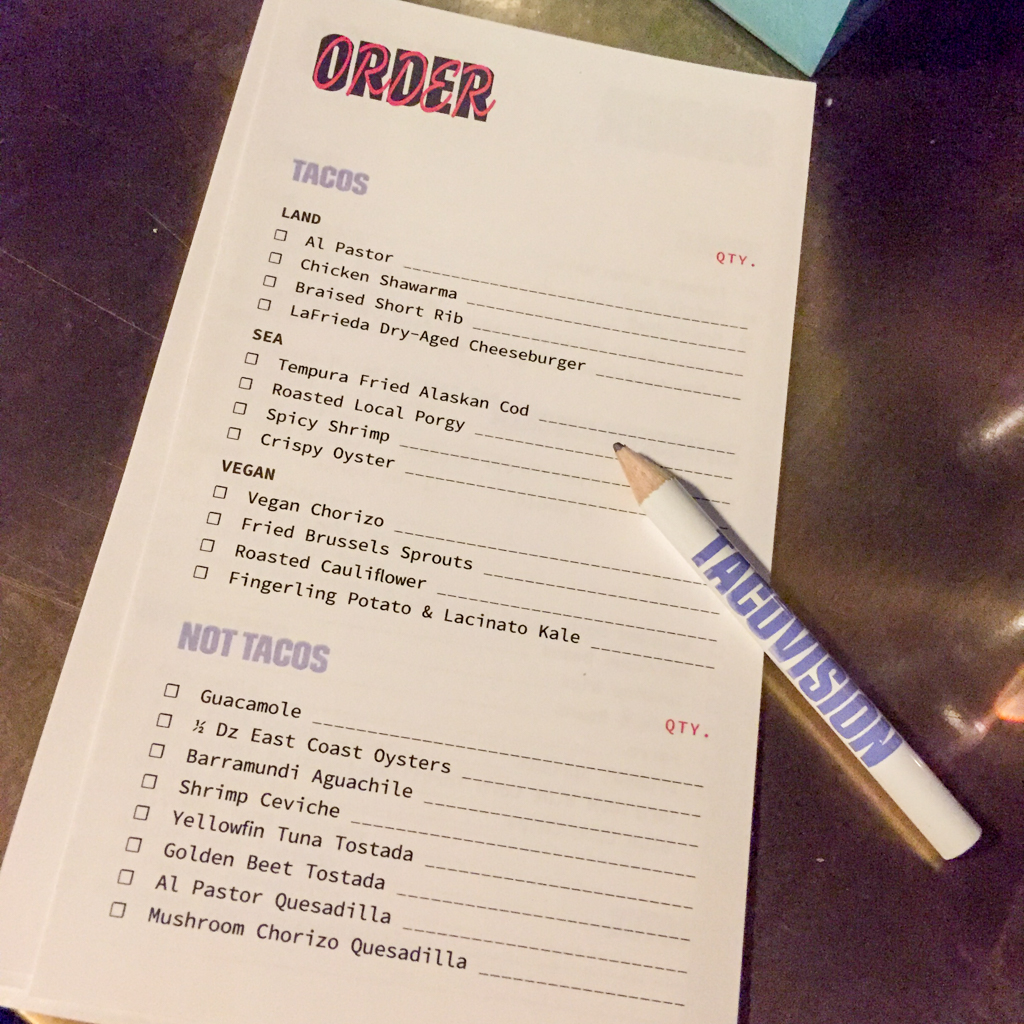 Taco order form at Tacovision, Midtown East, NYC.