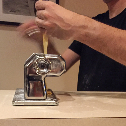 Rolling pasta for Krautfleckerl