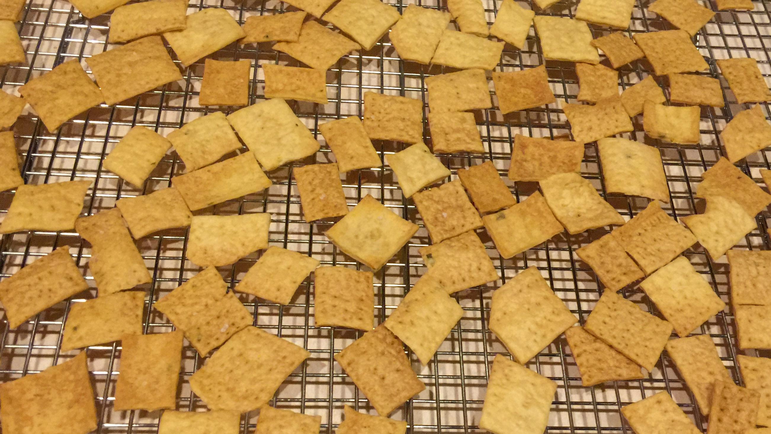 Sourdough crackers cooling